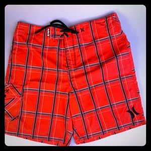 Red Hurley board shorts